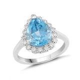 Lab-Created Aquamarine and White Sapphire Pear Halo Ring