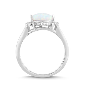 Lab-Created Opal and White Sapphire Pear Halo Ring