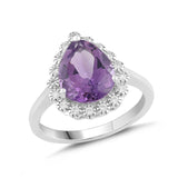 Natural Amethyst and White Sapphire Pear Halo Ring