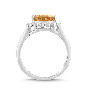 Natural Citrine and White Sapphire Pear Halo Ring