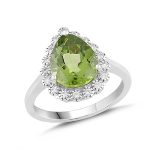 Natural Peridot and White Sapphire Pear Halo Ring