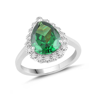 Lab-Created Emerald and White Sapphire Pear Halo Ring