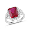 Lab-Created Ruby and White Sapphire Halo Ring