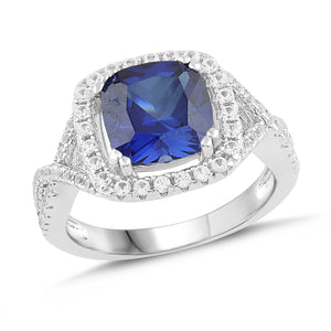 Lab-Created Blue Sapphire and White Sapphire Cushion Halo Ring