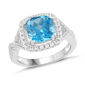Lab-Created  Aquamarine and White Sapphire Cushion Halo Ring
