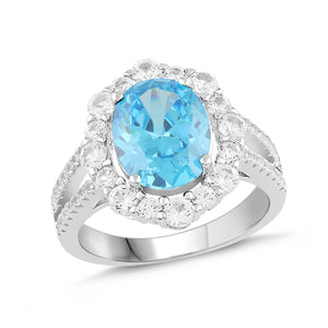 Lab-Created Aquamarine and White Sapphire Halo Ring