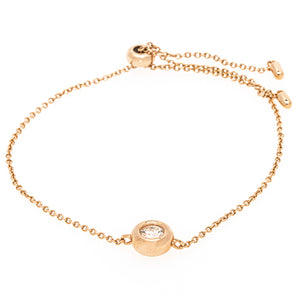 Rose Gold Plated Silver Moissanite Bezel Bolo Bracelet