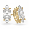 Marquise 14K Yellow Gold Moissanite Four Prong Studs