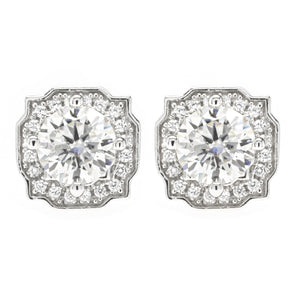 Platinum Plated Silver Moissanite Vintage Halo Stud Earrings