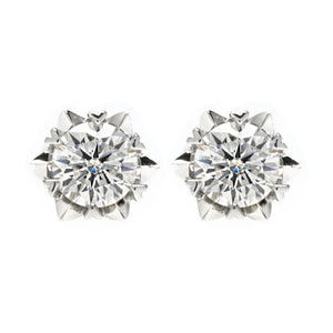 Platinum Plated Silver Moissanite Solitaire Stud Earrings and Pendant Set