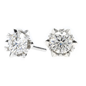 Platinum Plated Silver Moissanite Solitaire Stud Earrings