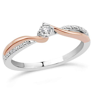 Twin Flame Diamond Promise Ring In Sterling Silver And 10K Rose Gold