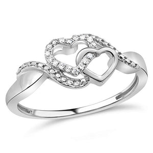 Allied Hearts Diamond Promise Ring In Sterling Silver With Intertwined Hearts 1/10 Ct.Tw.