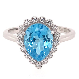 Natural Blue Topaz and White Sapphire Pear Halo Ring