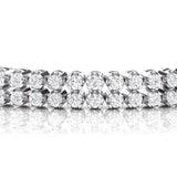 Round Double Row Tennis Bracelet In 14K White Gold