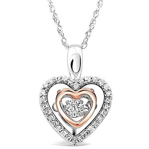 Dancing Diamond Heart Necklace in 10k White and Rose Gold