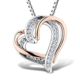 Intertwined Diamond Heart Necklace in Sterling Silver and 10k Rose Gold