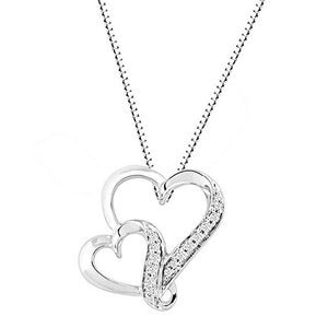 Diamond United Heart Necklace in Sterling Silver