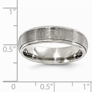 Men's 6mm Titanium Polished Textured Domed Band