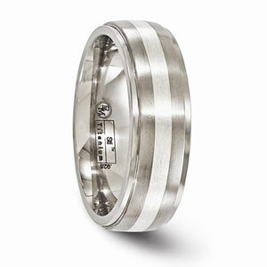 Men's 7mm Titanium Brushed And Polished With Sterling Silver Band