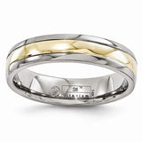 Men's 5mm Titanium With 14K Yellow Gold Inlay Band