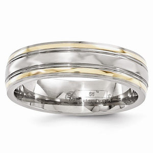 Men's 6mm Titanium And 14K Yellow Gold Edge Polished Band