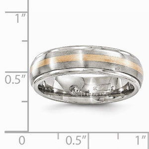 Men's 6mm Titanium And 14k Rose Gold Brushed And Polished Band