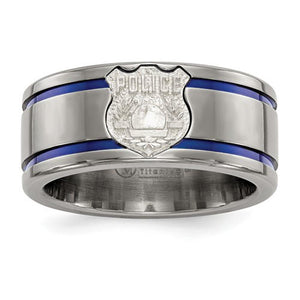 Men's 10mm Titanium Blue Anodized With Sterling Silver Police Shield Tag Band