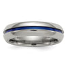 Men's 6mm Titanium Blue-Anodized Center Band