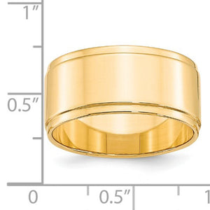 Men's 14K Yellow Gold Flat With Step Edge Band (From 4mm to 10mm)
