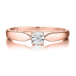 Glistening 1/10 Carat Diamond Promise Ring In 10K Rose Gold
