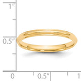 Women's 14K Yellow Gold Half Round With Edge Band (From 2.5mm to 3mm)