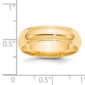 Men's 14K Yellow Gold Half Round With Edge Band (From 3mm to 8mm)