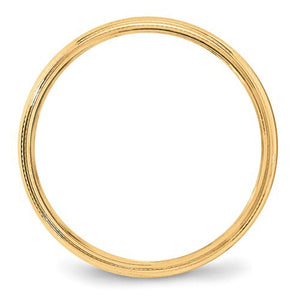 Women's 14K Yellow Gold Milgrain Half Round Band (From 3mm to 4mm)