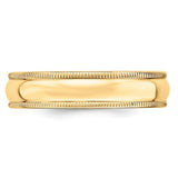Men's 14K Yellow Gold Milgrain Half Round Band (From 4mm to 6mm)
