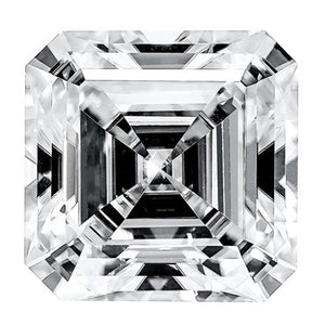 Asscher Super-Premium Colorless (DEF) Moissanite