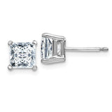 Princess Platinum Four-Prong Stud Earrings