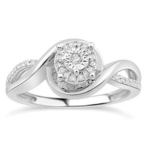 Soaring Heart Diamond Promise Ring In Sterling Silver