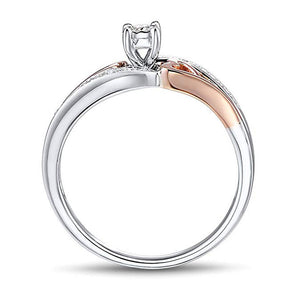 True Love Diamond Promise Ring in 10K Rose Gold & Sterling Silver 1/10 cttw