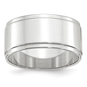 Men's 14K White Gold Flat With Step Edge Band (From 4mm to 10mm)