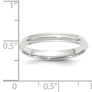 Women's 14K White Gold Half Round With Edge Band (From 2.5mm to 3mm)
