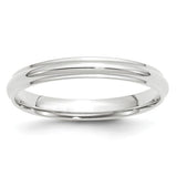 Men's 14K White Gold Half Round With Edge Band (From 3mm to 8mm)