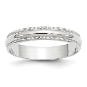 Women's 14K White Gold Milgrain Half Round Band (From 3mm to 4mm)