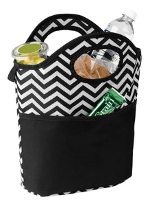 11 inch Chevron Patterned Insulated Small Cooler Tote Sports