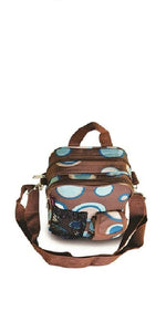 "9.5"" inch small Designer Print Hipster Crossbody Daypack for Children and Adults! (Brown circle design)"