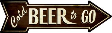 Cold Beer To Go Novelty Metal Arrow Sign