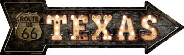 Texas Route 66 Bulb Letters Novelty Metal Arrow Sign