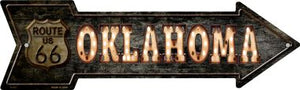 Oklahoma Route 66 Bulb Letters Novelty Metal Arrow Sign
