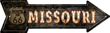 Missouri Route 66 Bulb Letters Novelty Metal Arrow Sign
