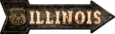 Illinois Route 66 Bulb Letters Novelty Metal Arrow Sign